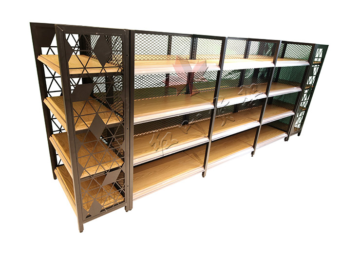 HY-四柱背网木纹转印货架双面