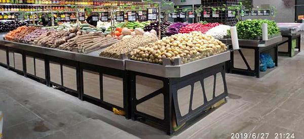 钢木结合不锈钢面蔬菜水果货架
