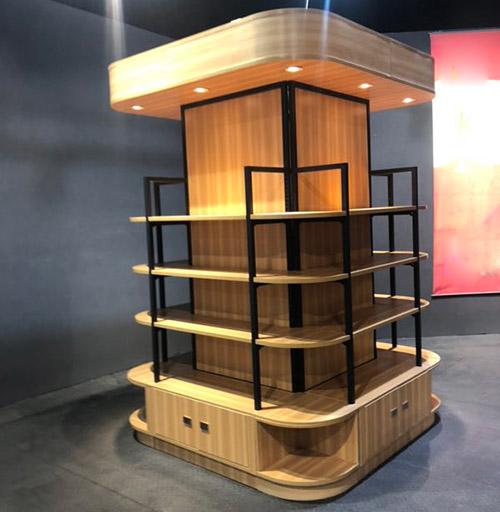 方形钢木包柱子货架