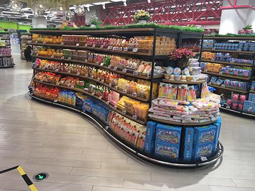 新款圆弧超市双面货架