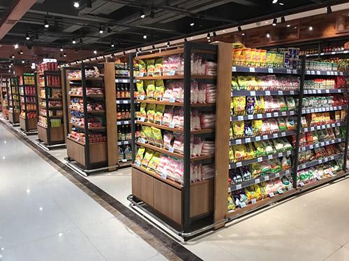 新款超市双面钢木货架