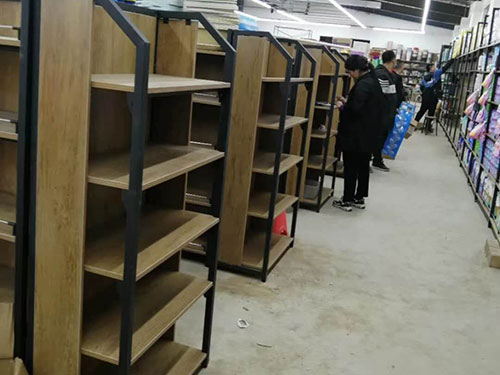 超市钢木双面货架案例