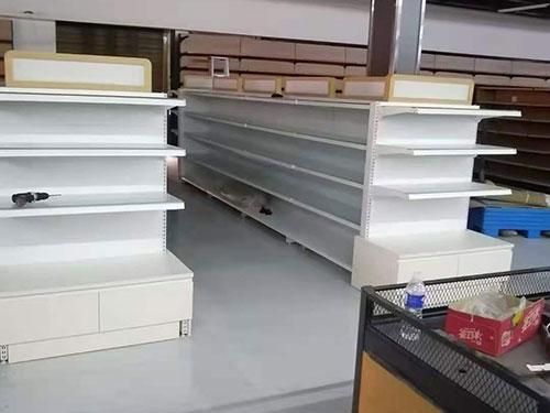 双面白色超市货架